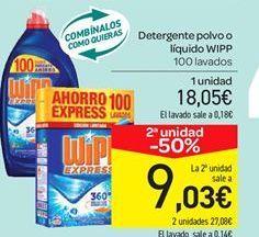 Oferta de Detergente polvo o líquido WIPP por 18.05€