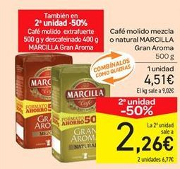 Oferta de Café molido mezcla o natural MARCILLA Gran Aroma  por 4.51€