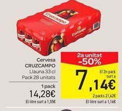 Oferta de Cerveza Cruzcampo pack 28 unidades  por 14.28€