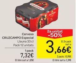 Oferta de Cerveza Cruzcampo especial pack 12 unidades por 7.32€