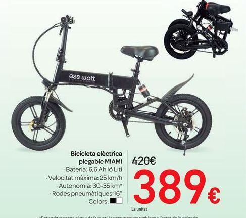 Oferta de Bicicleta eléctrica plegable MIAMI por 389€