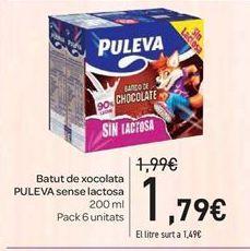 Oferta de Batido de chocolate PULEVA sin lactosa por 1.79€