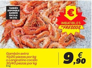 Oferta de Gambón extra 10/20 piezas por kg o Langostino cocido 30/40 piezas por kg por 9.9€