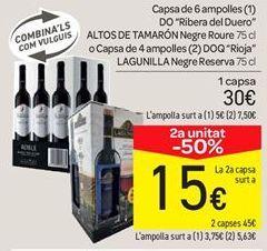 Oferta de Caja de 6 botellas D.O Rivera del duero Altos de Tamarón Tinto Roble o Caja de 4 botellas D.O.Ca. Rioja langunilla Tinto reserv por 30€