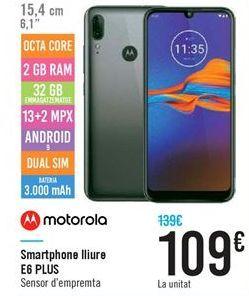 Oferta de Smartphone libre E6 PLUS por 109€