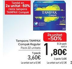 Oferta de Tampones Tampax compak regular por 3.6€