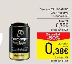 Oferta de Cerveza Cruzcampo gran reserva por 0.75€