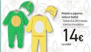 Oferta de Pelele o pijama velour bebé por 14€