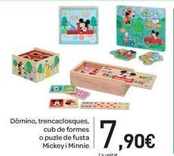 Oferta de Dmominó, rompecabezas, cubo de formas o puzzle de madera Mikey y Minnie por 7.9€