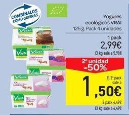 Oferta de Yogures ecológicos VRAI por 2.99€