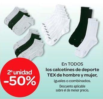 Oferta de En TODOS los calcetines de deporte TEX de hombre y mujer por