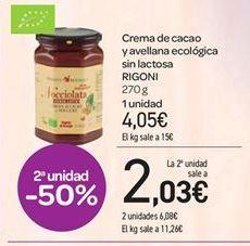 Oferta de Crema de cacao y avellana ecológica sin lactosa RIGONI por 4.05€