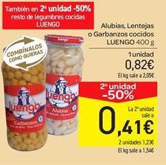 Oferta de Alubias, lentejas o garbanzos cocidos Luengo por 0.82€