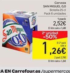 Oferta de Cerveza San Miguel 0,0 por 2.52€