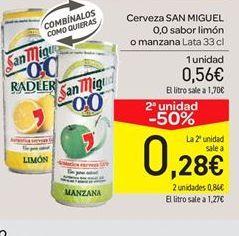 Oferta de Cerveza San Miguel 0,0 sabor a limón o manzana por 0.56€