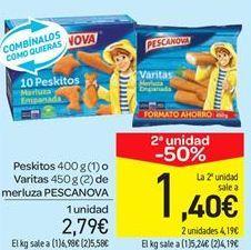 Oferta de Peskitos o Varitas de merluza PESCANOVA por 2.79€