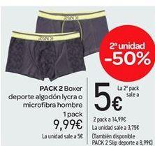 Oferta de Pack 2 Boxer deporte algodón lycra o microfibra hombre por 9.99€