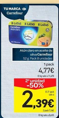 Oferta de Atún claro en aceite de oliva carrefour por 4.77€