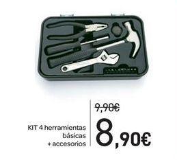 Oferta de KIT 4 herramientas básicas + accesorios por 8.9€