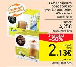 Oferta de Café en cápsulas DOLCE GUSTO Nesquik, Cappuccino o Chococino  por 4.25€