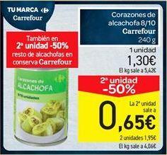 Oferta de Corazones de alcachofa carrefour por 1.3€