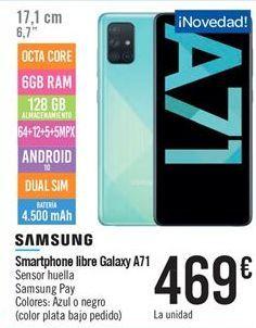 Oferta de Smartphone libre galaxy A71 por 469€