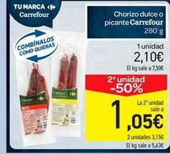 Oferta de Chorizo dulce o picante Carrefour por 2.1€