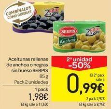 Oferta de Aceitunas rellenas de anchoa o negras sin hueso por 1.98€