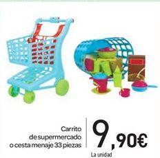 Oferta de Carrito de supermercado o cesta menaje 33 piezas por 9.9€