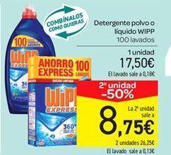 Oferta de Detergente polvo o líquido WIPP por 17.5€