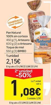 Oferta de Pan Natural 100% sin corteza 450 g (1), Artesano 600 g (2) o Artesano Toque de miel 550 g (3) BIMBO por 2.15€