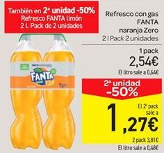 Oferta de Refresco con gas fanta naranja zero por 2.54€