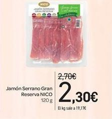 Oferta de Jamón Serrano Gran Reserva NICO por 2.3€