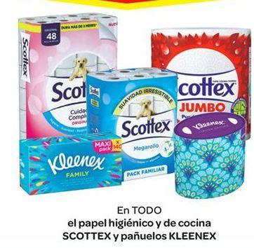 Oferta de En TODO el papel higiénico y de cocina SCOTTEX y pañuelos KLENEX por