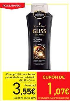 Oferta de Champú Ultimate Repair para cabello muy dañado Gliss por 3.55€