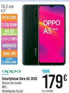 Oferta de Smartphone libre A5 2020 por 179€