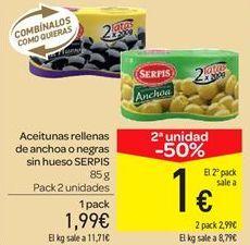 Oferta de Aceitunas rellenas de anchoa o negras sin hueso por 1.99€