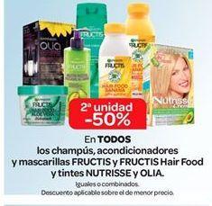 Oferta de En TODOS los champús, acondicionadores y mascarillas Fructis y Fructis Hair Food y tintes Nutrisse y Olia por
