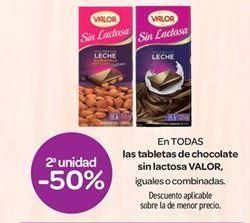 Oferta de En TODAS las tabletas de chocolate sin lactosa VALOR por