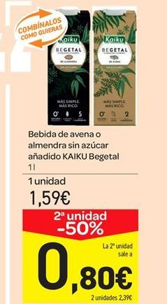 Oferta de Bebida de avena o almendra sin azúcar añadido KAIKU Begetal por 1.59€