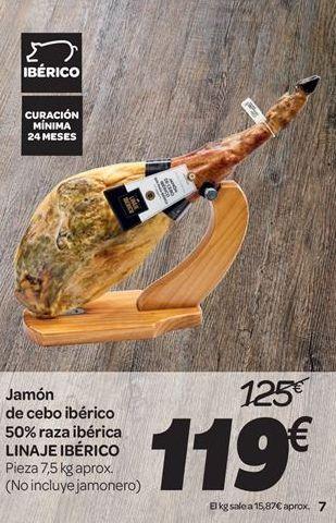 Oferta de Jamón de cebo ibérico 50% raza ibérica LINAJE IBÉRICO por 119€
