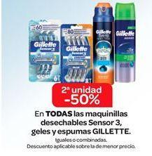 Oferta de En TODAS las Maquinillas desechables Sensor 3, geles y espumas GILLETTE por