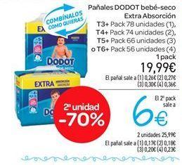 Oferta de Pañales Dodot bebé-seco extra absorción por 19.99€