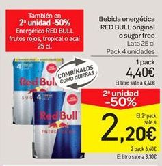 Oferta de Bebida energética Red Bull original o sugar free por 4.4€