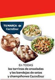 Oferta de Tarrinas de ensaladas y las bandejas de setas y champiñones Carrefour por