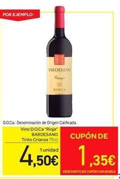 "Oferta de Vino D.O.Ca. ""Rioja"" BARDESANO Tinto Crianza por 4.5€"