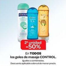 Oferta de En TODOS los geles de masaje CONTROL por