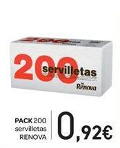 Oferta de Pack 200 servilletas  por 0.92€