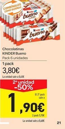 Oferta de Chocolatinas Kinder Bueno por 3.8€
