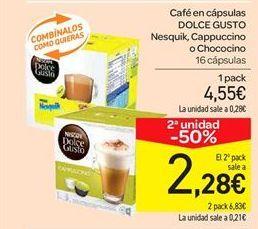 Oferta de Café en cápsulas DOLCE GUSTO Nesquik, Cappuccino o Chococino  por 4.55€